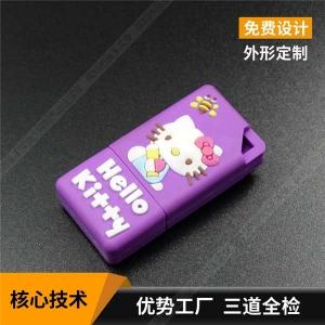 硅胶U盘定制 64gu盘厂家个性 猫咪卡通U盘